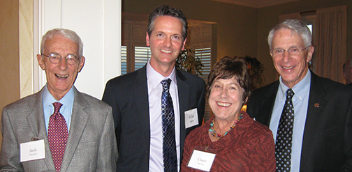 Press Advancement Council member Jack Stevens of Asheville and his wife Cissie join Spangler Family Director John Sherer and Club member Jack Evans at a Press Club event at the home of Patty Norman in Charlotte.
