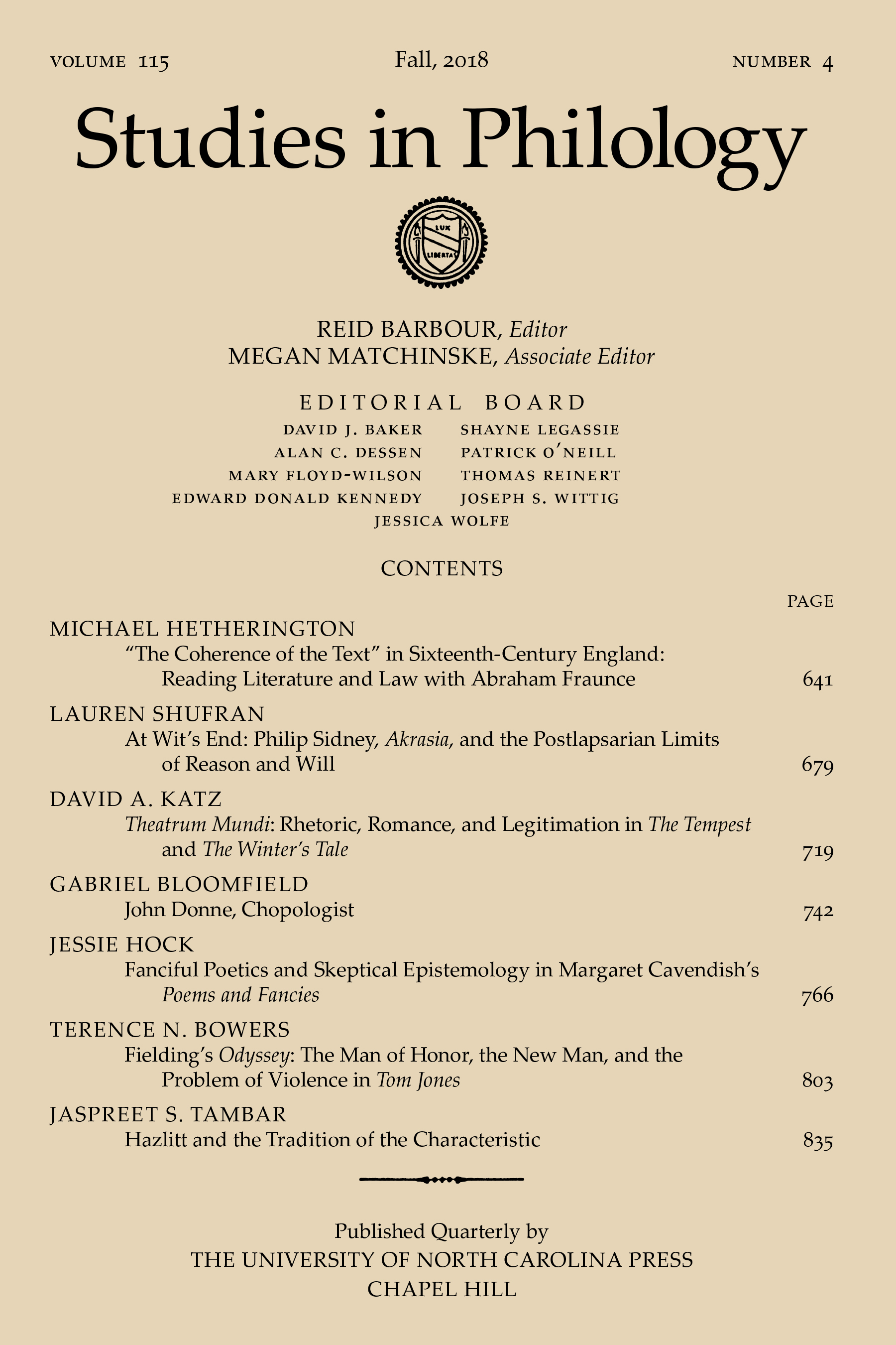 Studies in Philology, vol. 115 issue 4